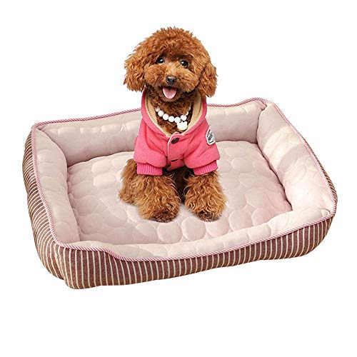 TEEPAO Haustier-Hundehüttenpolster & Bett, kalte Fütterung für Hundekäfig, rechteckige Kühlmatratze, Nackenrolle für mittelgroße und kleine Haustiere, weiches waschbares Kissen, Rutschfest, Rose, M -