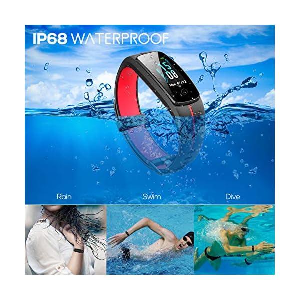 CHEREEKI Pulsera Actividad, Fitness Tracker IP68 Impermeable Monitor de Frecuencia Cardiaca 14 Modos de Ejercicio/Control de Música/Cronómetro/Recordatorio Sedentario/SMS Push 2