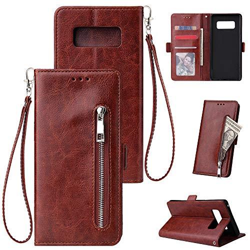 FNBK Kompatibel mit Hülle Samsung Galaxy Note 8 Handyhülle Leder Handytasche Reißverschluss Brieftasche Flip Case Slim Luxus Schutzhülle Handschlaufe Kredit Karten Magnetische Ständer,Braun
