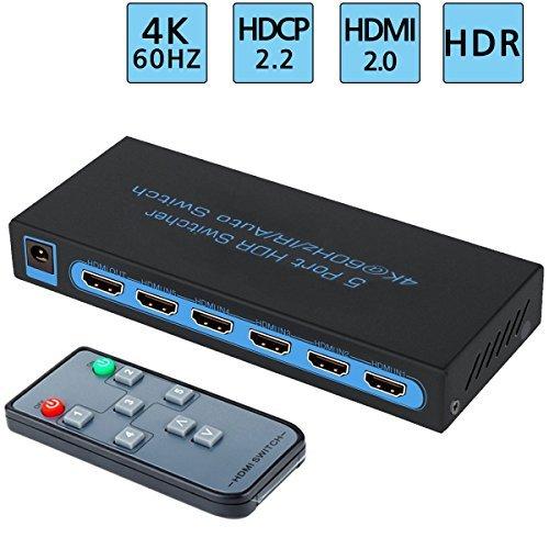 Schalter mit Fernbedienung,FiveHome 5 Eingänge und 1 Ausgang,unterstützt höchste Auflösung bis 4Kx2K@60Hz,HDR, HDCP 2.2, FullHD/3D, 1080P, DTS/Dolby ()