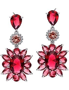 Neoglory Jewellery Zirkonia Blume Ohrringe mit Strass Damen rot