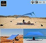 GLOBOLANDIA SRL Nuova Tenda da Spiaggia con Tettuccio Parasole 2X2m Portatile Ombrellone 95117 Vela Parasole Anti UV con Ancoraggio Sacchetti di Sabbia per Il Mare, Camping e Outdoor