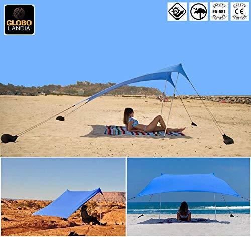 GLOBOLANDIA SRL Tenda da Spiaggia con Tettuccio Parasole 2X2m Portatile Ombrellone Vela Parasole Anti UV con Ancoraggio Sacchetti di Sabbia per Il Mare, Camping e Outdoor 95117