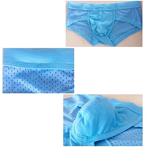 SEVENWELL Männer Modal Mesh Hosen Elastische Sexy Slip Unterwäsche Blue