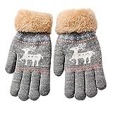 TEBAISE Weihnachten Warme Gestrickte Winter Handschuhe FüR Kinder Kuschelige Strickhandschuhe Aus Baumwolle Sehr Angenehm Weich Zum Spielen Mit Flauschigem Saum Jungen Mädchen