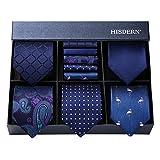 Hisdern Lot 5 Stuck Klassisch Formal Elegant Herren Seidenkrawatte Set-Krawatte & Einstecktuch-mehrere Sets