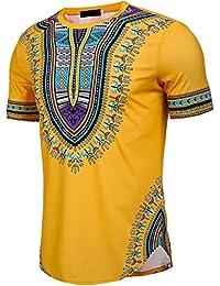 Longra T-Shirt Herren Kurzarm Shirt Slim Fit T-Shirt Bohemia Printed Muscle  T-Shirt Casual Tops Bluse Unisex Dashiki… 8157053069