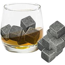 Grenhaven 9pcs Whisky Pierres Ice Cubes Glaçons stéatite Glacons en Pierre avec sac de cordon refroidisseurs de boissons Bière Rocks Granite Pouch