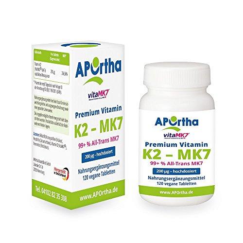 Premium Natto Vitamin K2 - MK7 - VitaMK7® - 200 µg - 120 vegane Tabletten - 99+ % All Trans Menaquinone 7 (MK7) (Natürlich Vitamine Nattokinase)