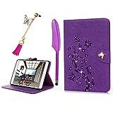 iPad Mini1 2 3 Case,Badalink Bling Glitter Diamonds Butterfly Embossed Ultra Slim Lightweight Stand Cover for Apple iPad Mini 1 (2012)/iPad Mini 2 (2013)/ iPad Mini 3 (2014) with Auto Sleep/Wake Feature - Light Purple