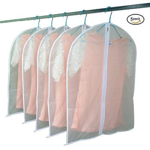 Gloria JR Transparente Reise Kleidungsstück Anzug Kleidung Abdeckungen Taschen Kleidung Organizer Kleid Staubdicht Lagerung Reißverschluss Taschen Beschützer Pack von 5 (60*80CM (32 Inches *24 Inches), Transparent) (Jr Kleidung)