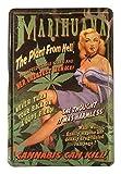 Blechschild 20x30 cm Marihuana Cannabis Joint Pin up Girl Plakat Bar Metall Schild