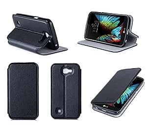 Etui luxe LG K4 4G noir Ultra Slim Cuir Style avec stand - Housse coque de protection smartphone LG K4 noire - accessoires pochette XEPTIO case
