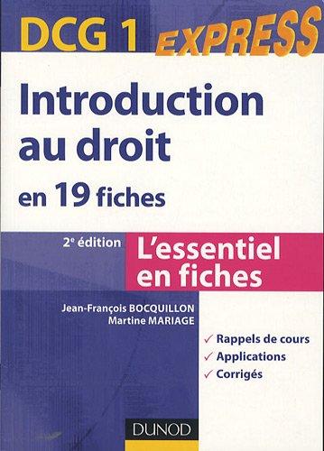 Introduction au droit en 19 fiches : DCG 1