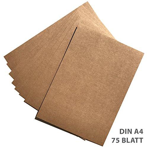 Preisvergleich Produktbild 75 Blatt Kraftpapier | Kraftkarton | DIN A4 280gr/qm | Naturkarton in hochwertiger Qualität | Ideal zum basteln und selbstgestalten | braun