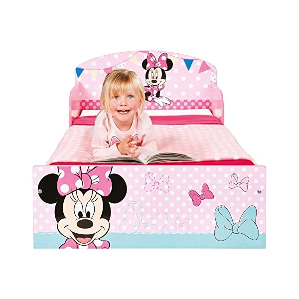 Disney Minnie Mouse Kids Toddler Bed by HelloHome  Sleep sweetly with this Minnie Mouse Toddler Bed Perfect size for toddlers, low to the ground with protective and sturdy side guards to keep your little one safe and snug Fits a standard cot bed mattress size 140cm x 70cm, mattress not included. Part of the Minnie Mouse bedroom furniture range from Hello Home 7