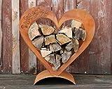 Rostikal Herz Holzregal aus verrostetem Metall, Edelrost Deko für Ihren Garten und Terrase
