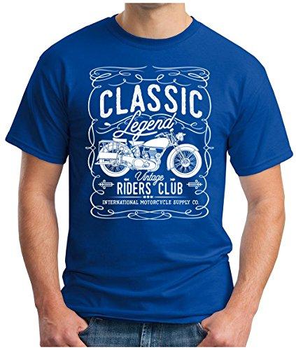 OM3 - CLASSIC-LEGEND-WHITE - T-Shirt Vintage RIDERS CLUB INTERNATIONAL MOTORCYCLE SUPPLY CO GARAGE CULT, S - 5XL Royalblau