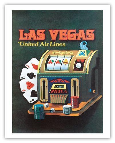 Pacifica Island Art Las Vegas, Nevada - United Air Lines - Slot Maschine - Vintage Airline Travel Poster c.1972 - Fine Art Print 11