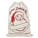 Sacco di Babbo Natale vintage personalizzabile in iuta, adatto a contenere i regali di Natale White santa