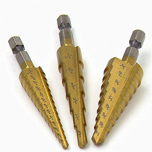 ZZH 3pcs Step Drill Bit Unibit Titanium HSS Industrial Reamer Inner Triangle Kit New -
