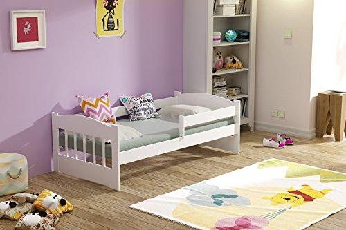 Kinderbett 160x80 mit Matratze und Bettlaken Massivholz (Weiß)