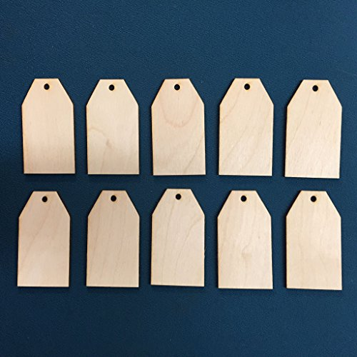 10x Wooden Key Pendant Gift Price Tags Blank Craft Ready to Paint and Decorate