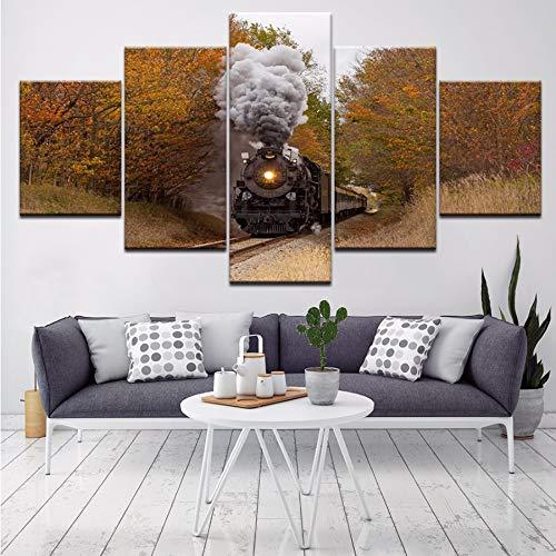(Wiwhy 5 Panel Vintage Klassische Dampfzug Wandkunst Home Schlafzimmer Dekoration Bild Malerei Wohnzimmer Sofa Hintergrund Poster Gerahmt,10X15/20/25Cmwiwhy)