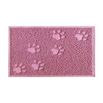 KINGCOO Tapis pour bac à litière pour Chat, Tapis pour bac à litière pour Chat Cat Trapper Tapis pour Chat pour Chien,PVC 30 x 40 CM (Lotus Rose)