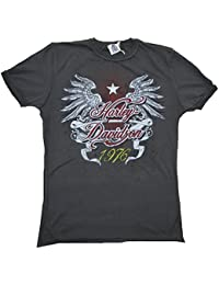 H D Custom T-shirt gris anthracite Official Harley Davidson 1976Eagle Wings Aigle ailes