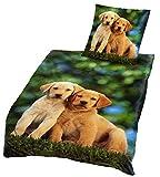Brandsseller - Hochwertige Tiermotiv Bettwäsche Microfaser Set Hundebabys Bettbezug: 135 x200 cm Kissenbezug: 80 x80 mit Reißverschluss-Grün