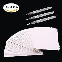 buwant blanco 100% algodón Cold Press Acuarela de papel 60hojas y cepillo, 3piezas