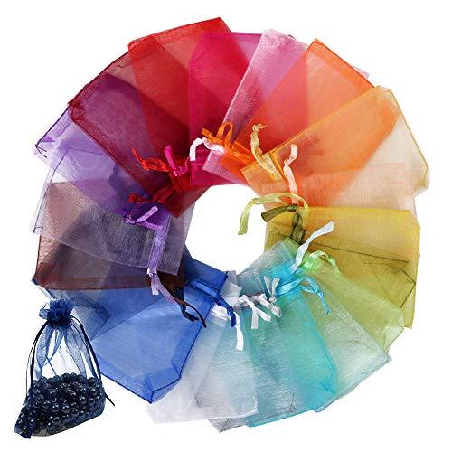 FLOFIA 100 Bolsas Bolsitas Organza Boda 7x9cm Colores