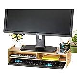 Tourking Holz Monitor Ständer TV PC Laptop Computer Bildschirm Mittelteil Schreibtisch Aufbewahrung 2 Ebenen