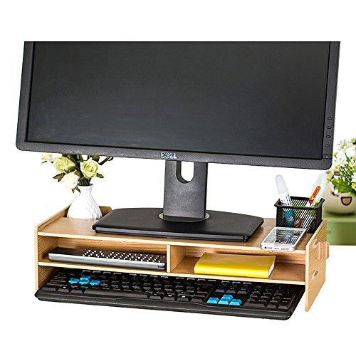 TourKing - Soporte para Monitor de Madera, para TV, PC, Ordenador portátil, Escritorio y Almacenamiento de 2 Niveles