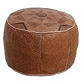 Casa Moro Orientalische Leder Sitzkissen Marokkanischer Polsterhocker | Sitzpouf Fußhocker Hocker Sitzhocker Pouf Echtleder aus Marrakesch | Kamel Gefüllt D 42 cm x H 30 cm