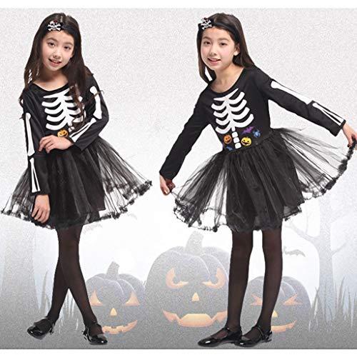 Junge Scary Kostüm Kinder - DMMDHR Halloween Halloween Party Schädel Skelett Kostüme Kinder Kind Scary Monster Demon Devil Ghost Sensenmann Kostüm für Jungen Mädchen, 2, L