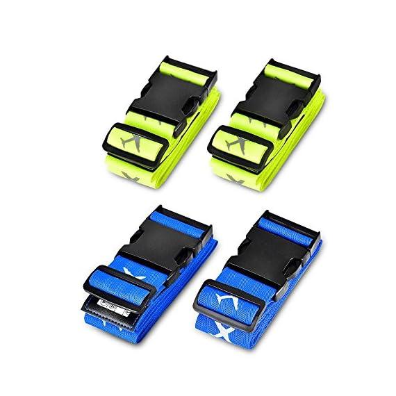 Vert Fluorescent Bleu Sangle de Bagage solawill 4 Pcs Sangle Valise R/églable Sangle Crois/ée Voyage Accessoires pour S/écurit/é des valises