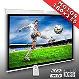 Écran de projection motorisé 180 x 135 cm SlenderLine Plus, Format 4:3 FULL-HD 3D 4K 8K, Écran de projection électrique pour vidéoprojecteur, Home Cinema, pour Mur ou Plafond, avec Télécommande