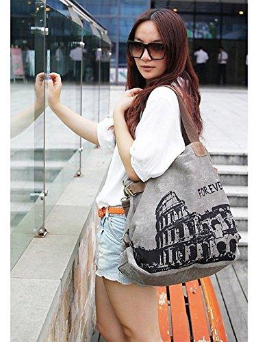 UUstar® Frau vintage Schultasche Canvas Handtasche Rucksack Groß Umhängetasche Reisetasche Ipad Kameratasche Schule Tasche Sales Outlet (Grau.) - 4