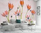 Fototapete Vlies Wallpaper 3D Tapete Wanddeko Moderne Wandbilder Anpassbare nordischen stil, moderne, ästhetische, erfrischend, handgemalten blümchen hintergrund wall murals