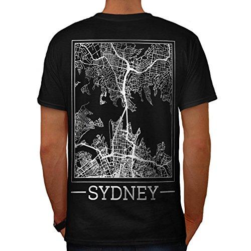 Australien Sydney Karte Groß Stadt Herren M T-shirt Zurück | (Sydney Kostüme Billig)