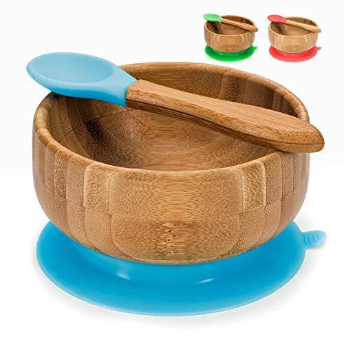 Baby Breischale, Bambusschüssel mit Saugnapf - Brei-Schüssel Bambus Schale (Baby Schüssel)