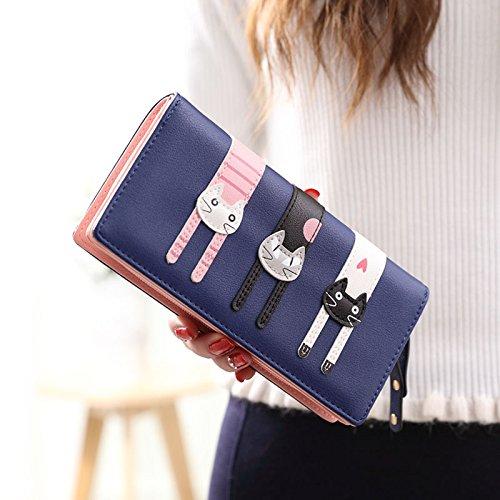 Cute Cat borsa del portafoglio Bifold da donna Coface con la chiusura lampo Blue