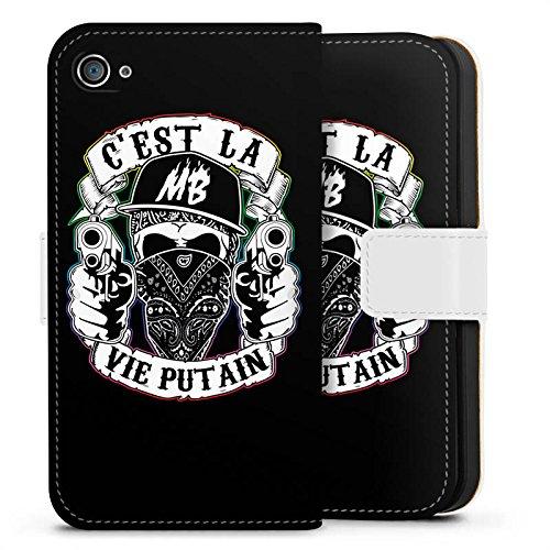 Apple iPhone X Silikon Hülle Case Schutzhülle Montanablack Fanartikel Merchandise C'EST LA VIE PUTAIN Sideflip Tasche weiß