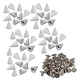 yibuy 50Weiß Spots Konus Schraube Metall-Nieten Leder Craft Stift Pyramid Spikes DIY