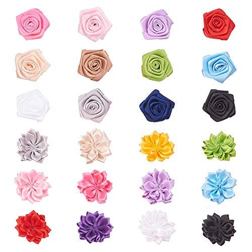 PandaHall Elite 24pcs 2 Stil Sortierte Farbe Handgemachte Blumen Band Bögen Woven Kostüm Zubehör Für Stirnband, Hochzeit, Dekoration Woven Bogen