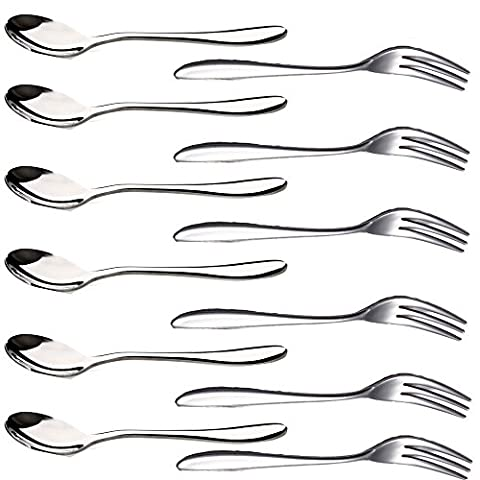 12PCS Stainless Steel Cocktail Tasting Appetizer Cake Fruit Forks and
