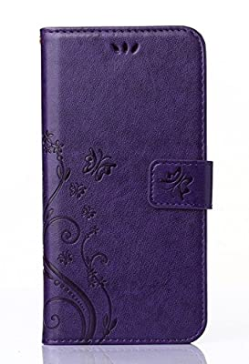 C-Super Mall-UK Apple iPhone 6 Plus / 6s Plus 5.5 Inch Case, PU embossed butterfly & flower Leather Wallet Stand Flip Case for Apple iPhone 6 Plus / 6s Plus 5.5 Inch