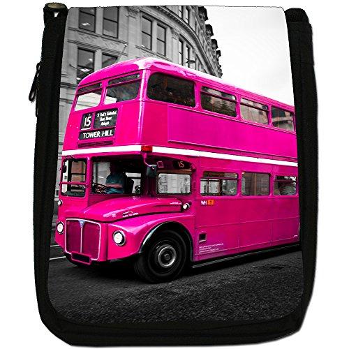London Bus-Borsa a tracolla in tela, colore: nero, taglia: M Pink London Bus